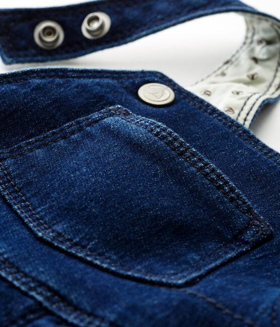 Peto largo de tela efecto vaquero para bebé unisex azul Medieval / beige Ecru Cn