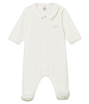 Este pelele para bebé mixto en terciopelo de algodón liso