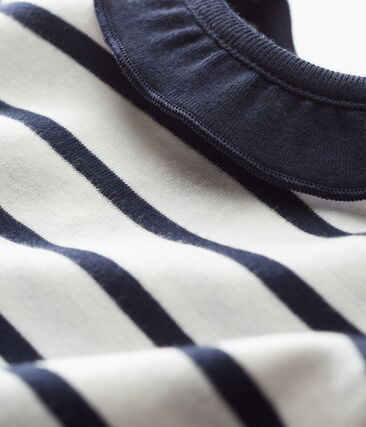 Blusa manga corta para bebé niña blanco Marshmallow / azul Smoking Cn