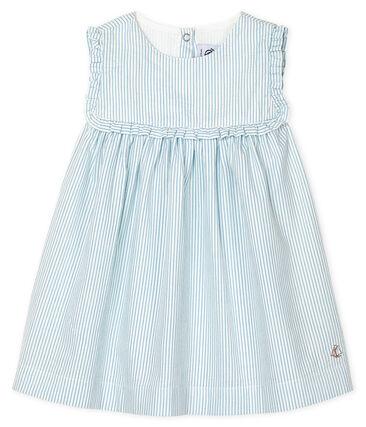 Vestido sin mangas a rayas para bebé niña blanco Marshmallow / azul Acier