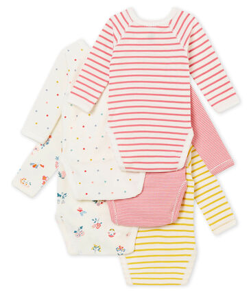 Lote de 5 bodis de manga corta para bebé niña