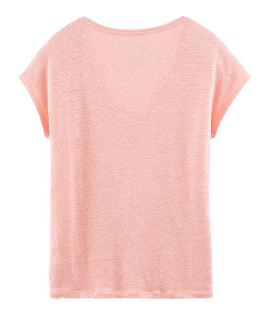 Camiseta manga corta lisa de lino irisada para mujer rosa Rosako / rosa Copper