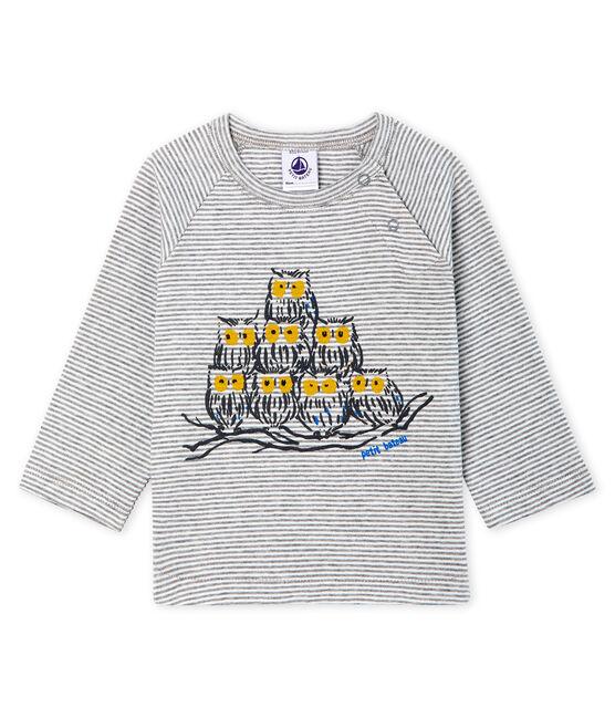 Camiseta de manga larga milrayas para bebé niño gris Subway / blanco Marshmallow