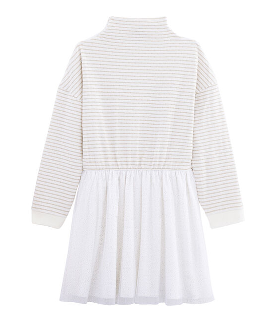 Vestido de manga larga para niña blanco Marshmallow / amarillo Or