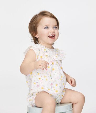 Mono corto estampado para bebé niña blanco Marshmallow / blanco Multico
