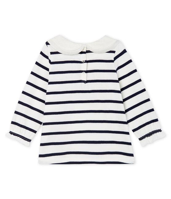 Blusa de manga larga con rayas marineras para bebé niña blanco Marshmallow / azul Smoking