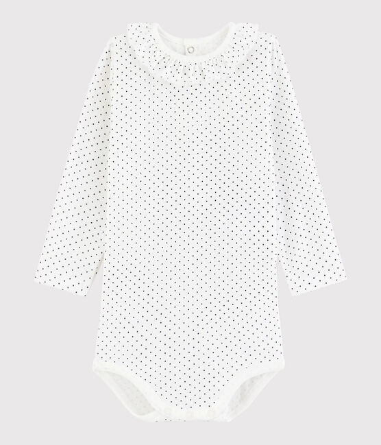 Bodi de manga larga para bebé niña blanco Marshmallow / azul Medieval