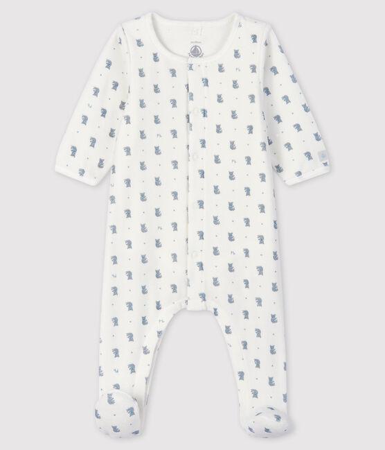 Bodyjama de terciopelo con estampado de koala para bebé niño blanco Marshmallow / blanco Multico