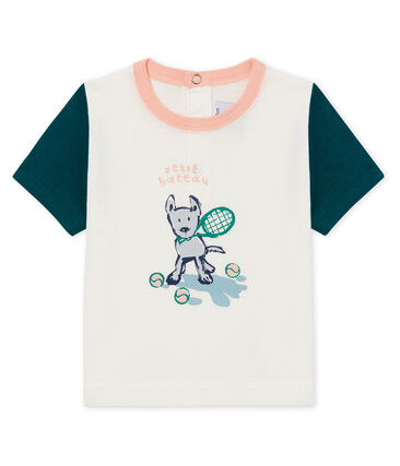 Camiseta manga corta con motivos para bebé niño blanco Marshmallow / verde Pinede