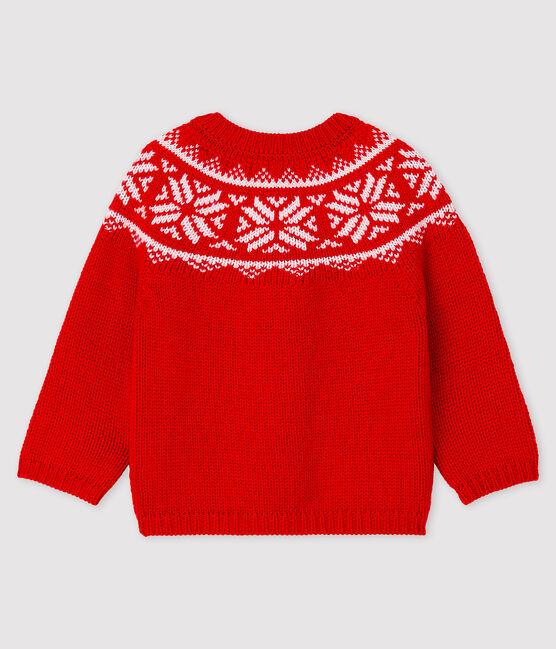 Cárdigan 100 % lana para bebé rojo Terkuit / blanco Marshmallow
