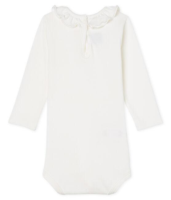 Body de manga larga lisa con cuello isabelino para bebé niña blanco Marshmallow