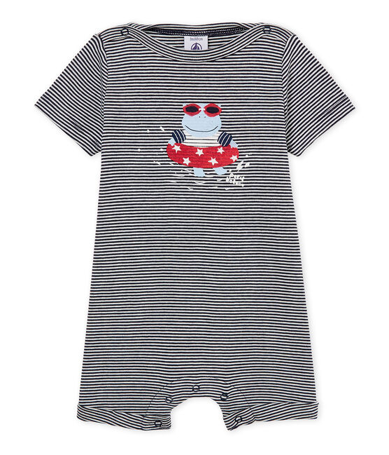 Mono corto milrayas para bebé niño azul Smoking / blanco Marshmallow