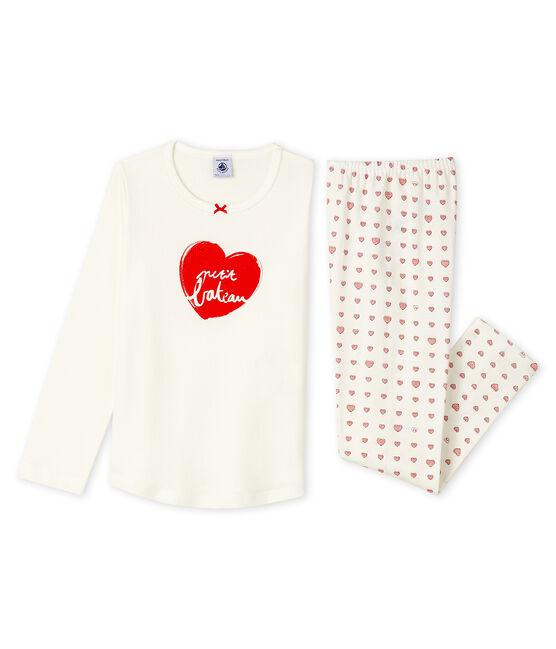 Pijama de canalé con corazón rojo para niña blanco Marshmallow / blanco Multico