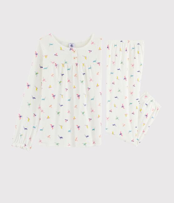 Pijama con estampado de pájaro de punto para niña blanco Marshmallow / blanco Multico