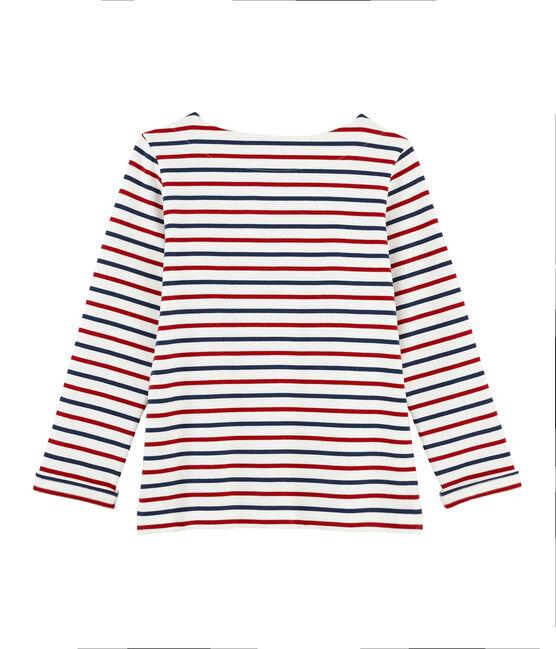 Camiseta marinera tricolor para mujer blanco Marshmallow / rojo Terkuit / azul Medieval