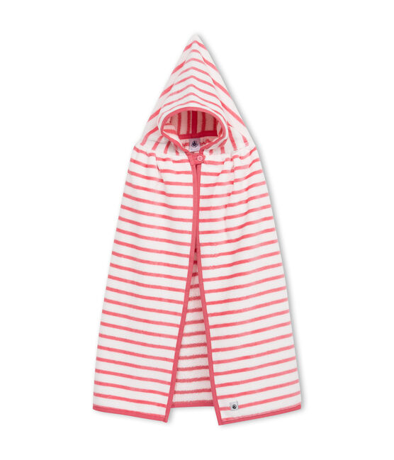 Capa de baño de rizo para bebé unisex blanco Lait / rosa Merveille