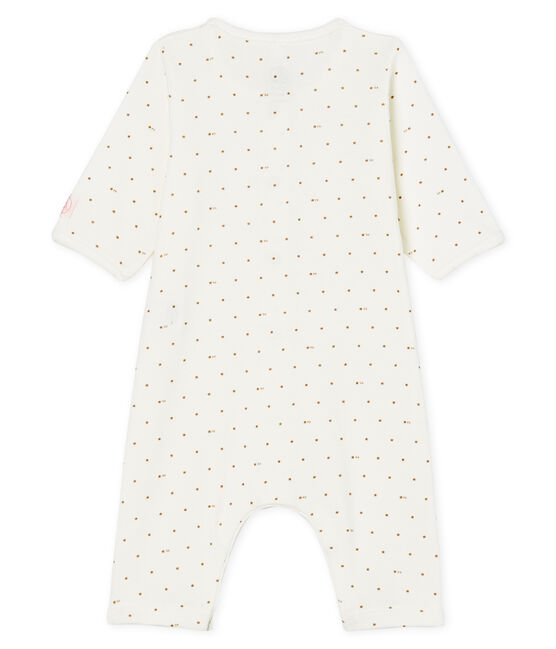 Pelele sin pies de punto para bebé blanco Marshmallow / rosa Gretel