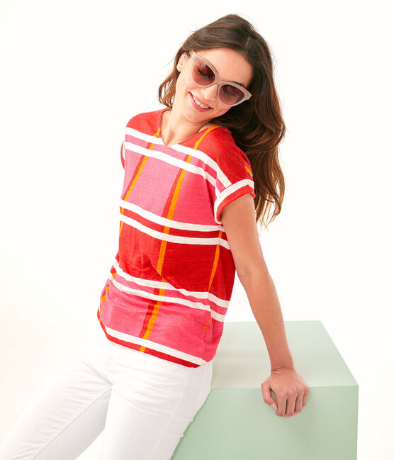 Camiseta de lino para mujer rosa Geisha / blanco Multico