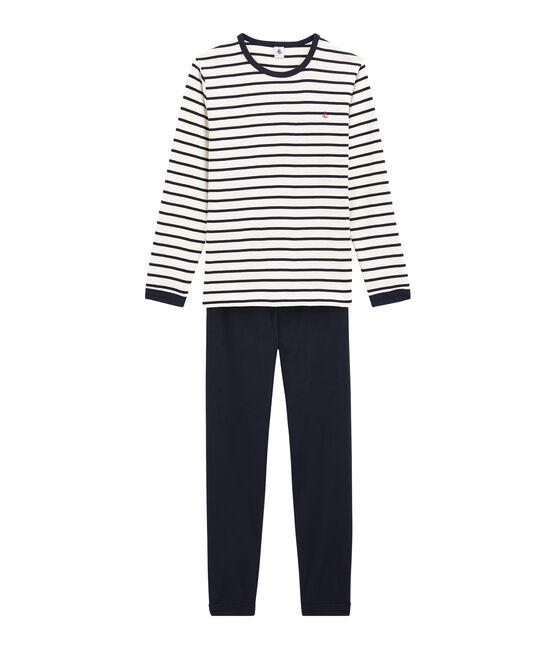 Pijama de marinera de niño pequeño de punto blanco Marshmallow / azul Smoking