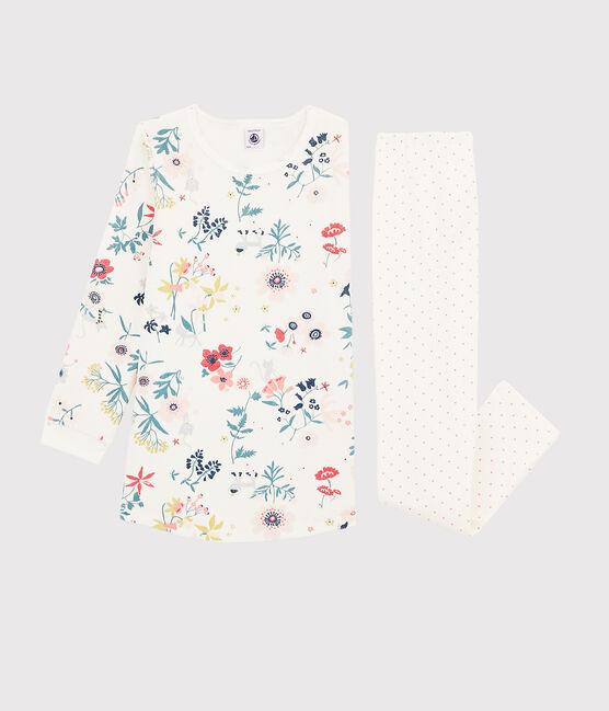 Camisón con flores de terciopelo con «leggings» para niña pequeña blanco Marshmallow / blanco Multico