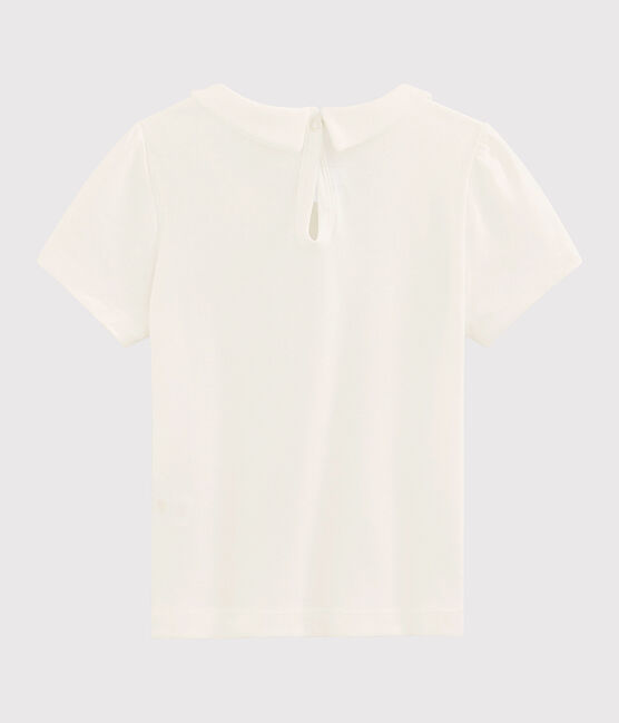 Camiseta de manga corta de algodón de niña blanco Marshmallow