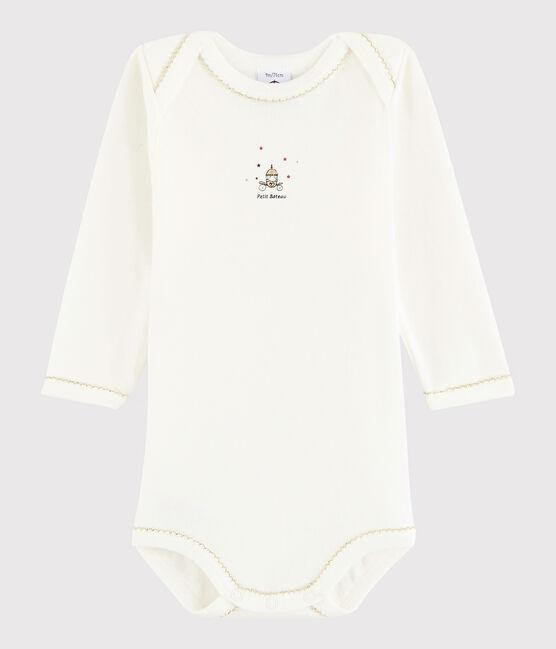 Bodi de manga larga de bebé niña blanco Lait