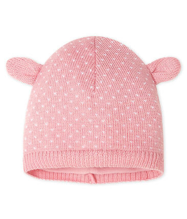 Gorro para bebé unisex con forro polar rosa Charme / blanco Marshmallow