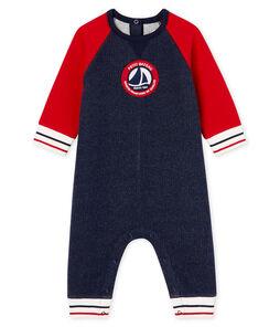 Mono largo en muletón para bebé niño azul Smoking / rojo Terkuit