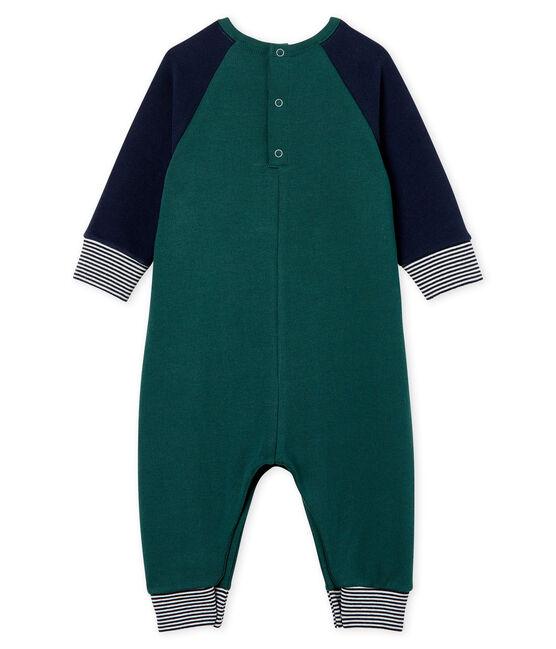 Mono largo en muletón para bebé niño verde Sousbois / azul Smoking