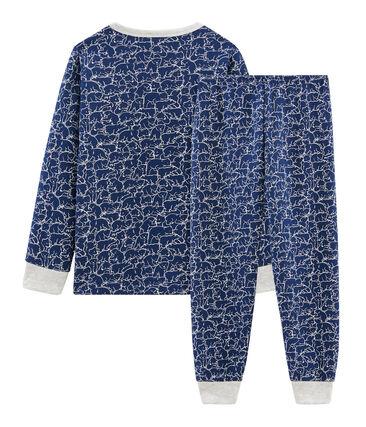Pijama de felpa para niño azul Major / blanco Marshmallow