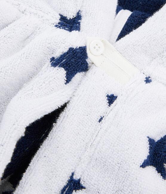 Capa de baño de rizo para bebé blanco Marshmallow / azul Medieval