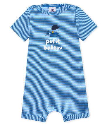 Mono corto milrayas para bebé niño azul Riyadh / blanco Marshmallow