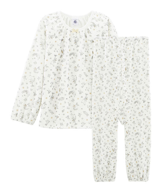 Pijama de punto de terciopelo blanco Marshmallow / blanco Multico Cn