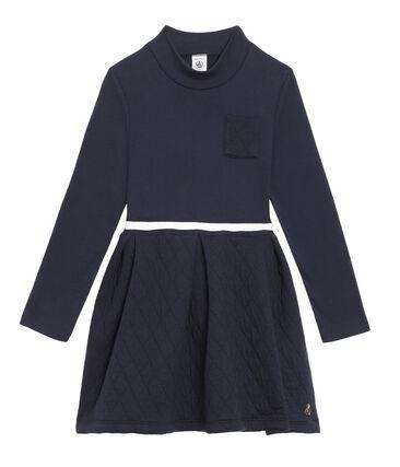 Vestido de cuello vuelto para niña azul Smoking