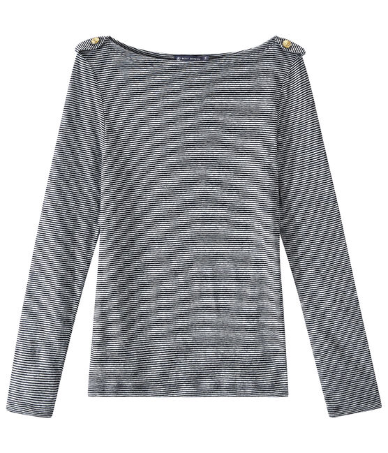 Camiseta de manga larga de lino rayado azul Smoking / blanco Lait