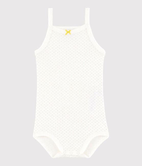 Bodi de tirantes de bebé de niña blanco Marshmallow / rosa Charme