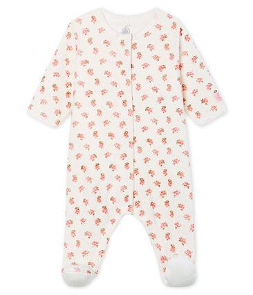 Bodyjama para bebé de niña de terciopelo blanco Marshmallow / blanco Multico
