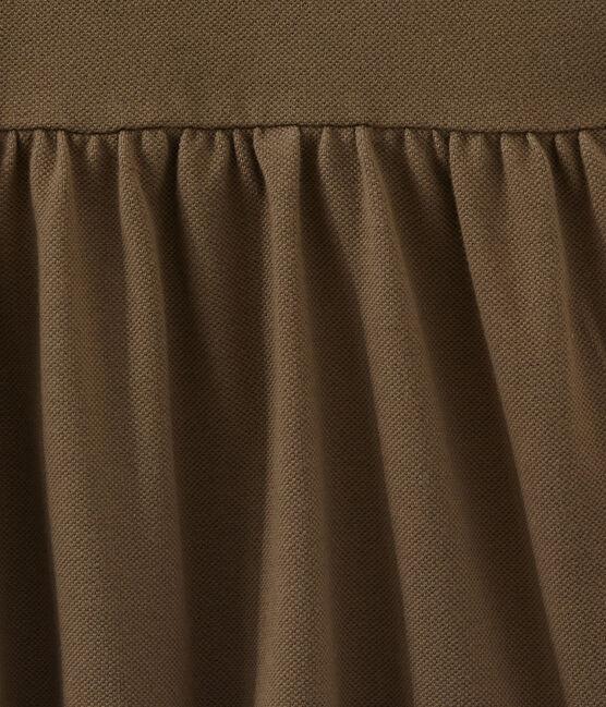 Vestido para niña de manga corta marrón Shitake