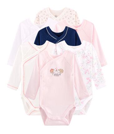 Bolsita sorpresa de 7 bodis de recién nacido de manga larga para bebé niña lote .