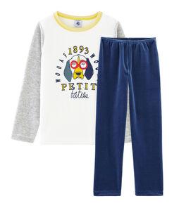 Pijama de terciopelo para niño pequeño azul Medieval / gris Poussiere