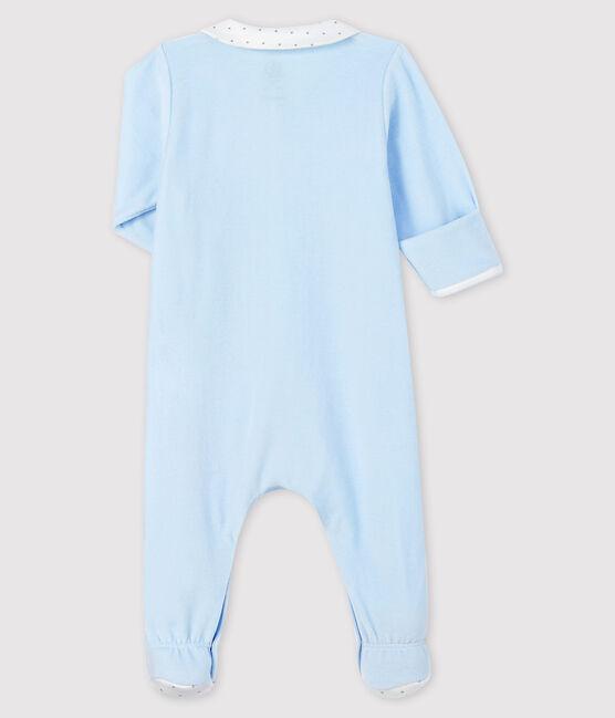 Pijama de terciopelo azul con cuello para bebé niño azul Fraicheur