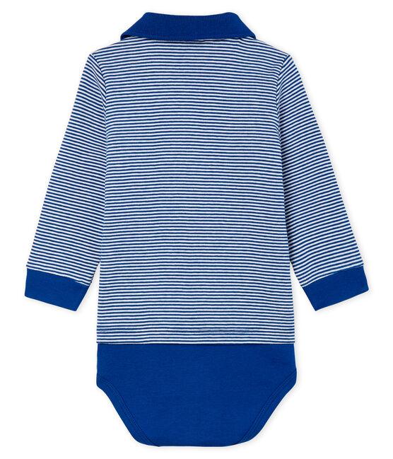 Body tipo polo milrayas para bebé niño azul Limoges / blanco Marshmallow