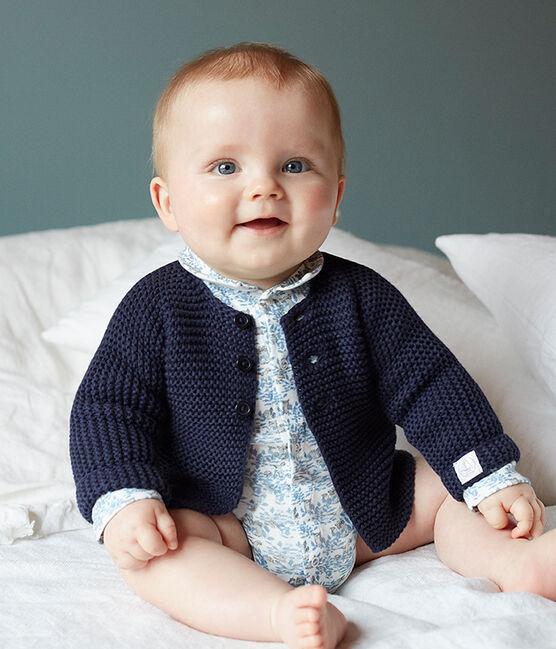 Body de nacimiento manga larga para bebé niño de punto blanco Marshmallow / azul Toudou