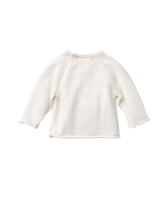 Chaqueta de bebé en punto lana y algodón blanco Lait