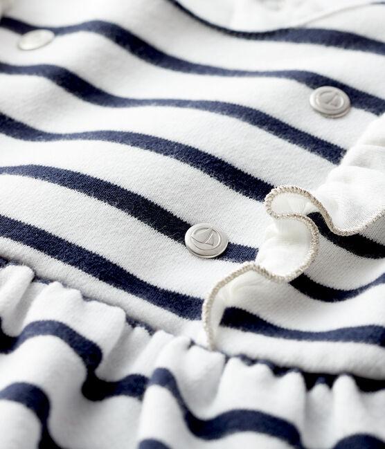 Vestido de manga larga para bebé niña blanco Marshmallow / azul Smoking
