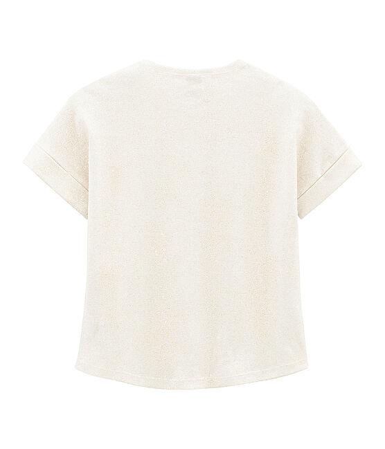 Camiseta manga corta infantil para niña blanco Marshmallow / rosa Copper