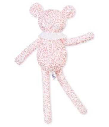 Doudou borreguito en jersey estampado blanco Marshmallow / rosa Joli