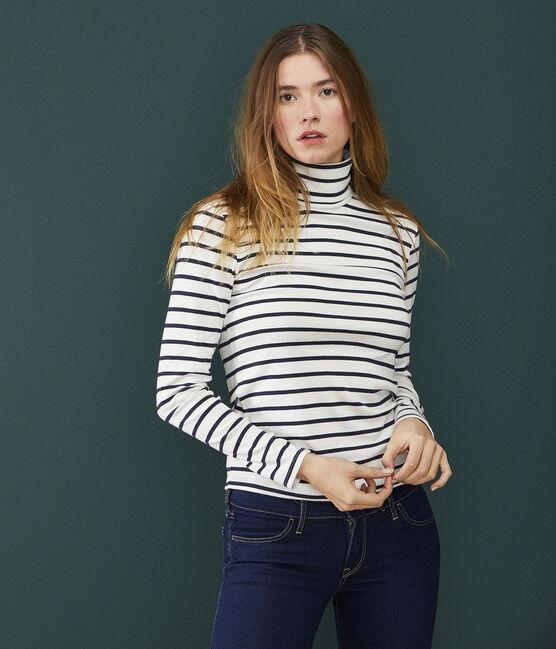 Cuello alto icónico para mujer blanco Marshmallow / azul Smoking