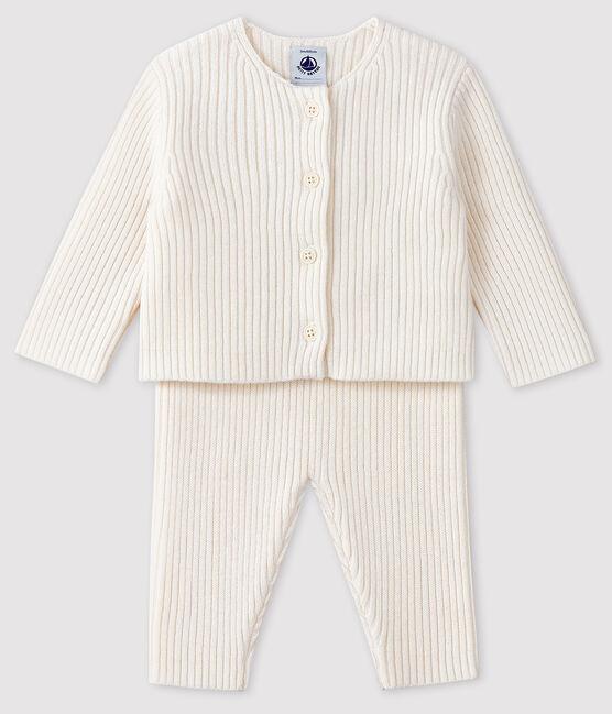 Conjunto blanco de 2 piezas de punto para bebé blanco Marshmallow