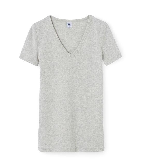 Camiseta manga corta de cuello pico para mujer gris Poussiere Chine
